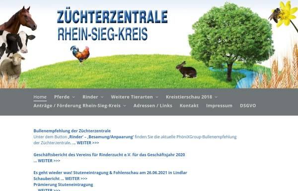 Vorschau von www.tierzucht-rhein-sieg.de, Züchterzentrale Rhein-Sieg-Kreis