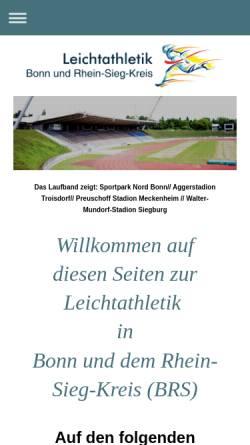 Vorschau der mobilen Webseite www.lvn-kreis-bonn-rheinsieg.de, Leichtathletikverband Nordrhein, Kreis Bonn/Rhein-Sieg