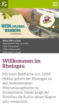 Vorschau der mobilen Webseite www.rheingau.de, Der Rheingau