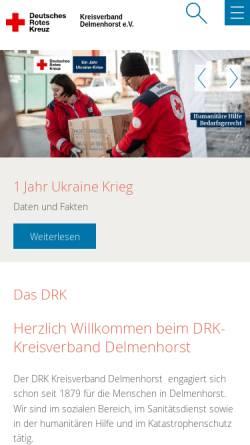 Vorschau der mobilen Webseite www.drk-delmenhorst.de, DRK Delmenhorst
