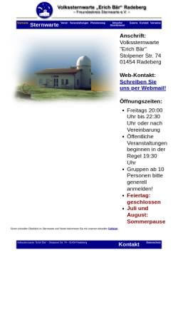 Vorschau der mobilen Webseite www.sternwarte-radeberg.de, Sternwarte Radeberg