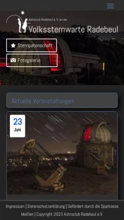 Vorschau der mobilen Webseite www.sternwarte-radebeul.de, Volkssternwarte Adolph Diesterweg Radebeul