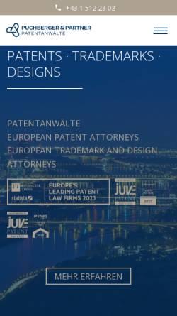 Vorschau der mobilen Webseite www.puchberger.at, Patentanwälte Puchberger, Berger & Partner