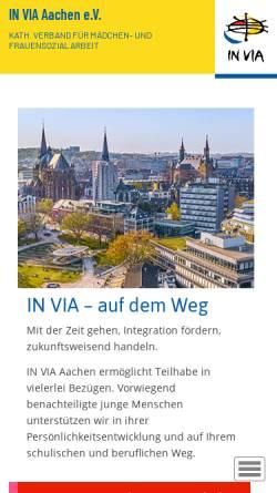 Vorschau der mobilen Webseite www.invia-aachen.de, IN VIA Aachen e.V.