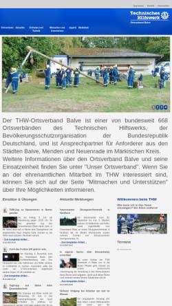 Vorschau der mobilen Webseite www.thw-balve.de, Technisches Hilfswerk (THW), OV Balve