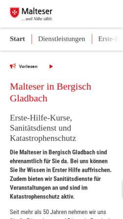 Vorschau der mobilen Webseite www.malteser-gl.de, Malteser Hilfsdienst e.V. Bergisch Gladbach