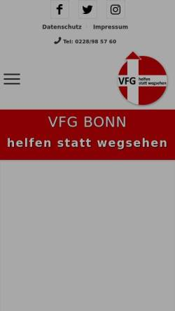 Vorschau der mobilen Webseite www.vfg-bonn.de, Verein für Gefährdetenhilfe