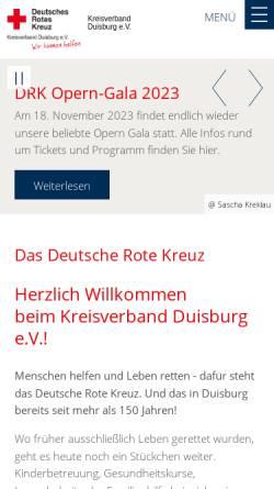 Vorschau der mobilen Webseite www.drk-duisburg.de, Deutsches Rotes Kreuz, Kreisverband Duisburg e.V.