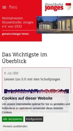 Vorschau der mobilen Webseite www.duesseldorferjonges.de, Heimatverein Düsseldorfer Jonges