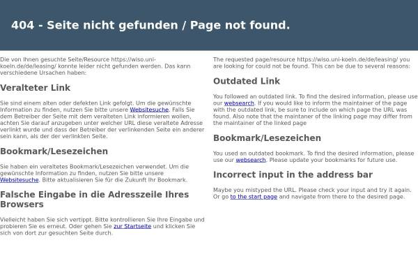 Vorschau von www.wiso.uni-koeln.de, Forschungsinstitut für Leasing an der Universität zu Köln