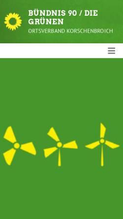 Vorschau der mobilen Webseite www.gruene-korschenbroich.de, Bündnis 90/Die Grünen Korschenbroich