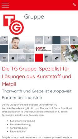 Vorschau der mobilen Webseite www.tg-kunststoff.de, T&G Kunststoffverarbeitung GmbH