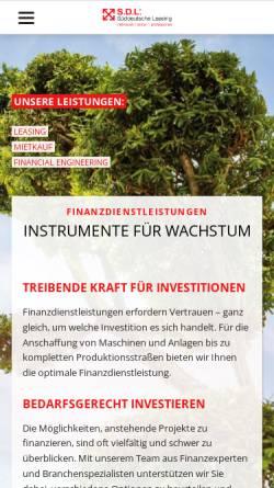 Vorschau der mobilen Webseite www.sueddeutsche-leasing.com, S.D.L Süddeutsche Leasing GmbH