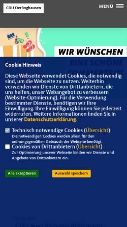 Vorschau der mobilen Webseite cdu-oerlinghausen.de, CDU Oerlinghausen