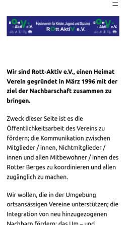 Vorschau der mobilen Webseite www.rott-aktiv.de, Förderverein für Kinder, Jugend und Soziales, Rott - Aktiv e.V.