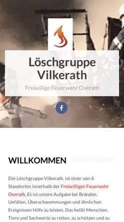 Vorschau der mobilen Webseite feuerwehr-vilkerath.de, Freiwillige Feuerwehr Vilkerath