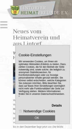 Vorschau der mobilen Webseite www.lintorf-die-quecke.de, Verein Lintorfer Heimatfreunde e.V. (VLH)