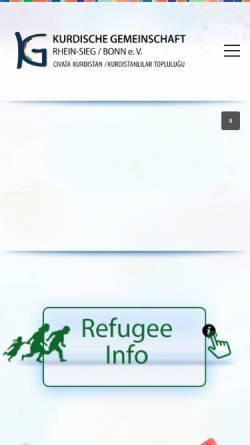 Vorschau der mobilen Webseite www.kurdische-gemeinschaft.de, Kurdische Gemeinschaft Rhein-Sieg/Bonn e.V.