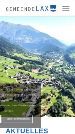 Vorschau der mobilen Webseite www.lax.ch, Gemeinde & Tourismus
