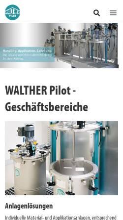 Vorschau der mobilen Webseite www.walther-pilot.de, Walther-Pilot, Spritztechnik und Lackiersysteme GmbH