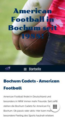 Vorschau der mobilen Webseite www.football-in-bochum.de, AFC Bochum Cadets e.V.