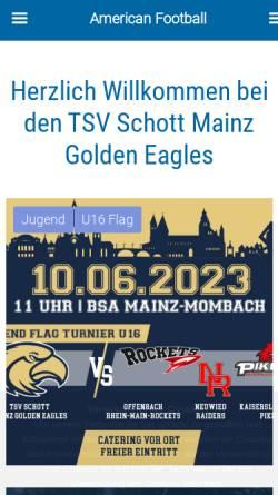 Vorschau der mobilen Webseite tsvschott.de, Mainz Golden Eagles