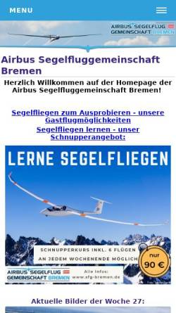 Vorschau der mobilen Webseite www.wfg-lemwerder.de, Weser-Fluggemeinschaft Lemwerder