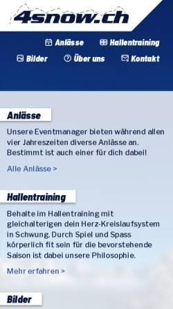 Vorschau der mobilen Webseite www.4snow.ch, Schneesport-Club Satus Wiedikon