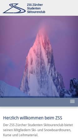Vorschau der mobilen Webseite www.skitouring.ch, Zürcher Studenten Skiclub ZSS
