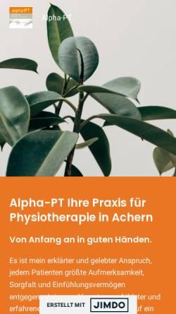 Vorschau der mobilen Webseite www.alpha-pt.de, Alpha-PT - Praxis für Physiotherapie