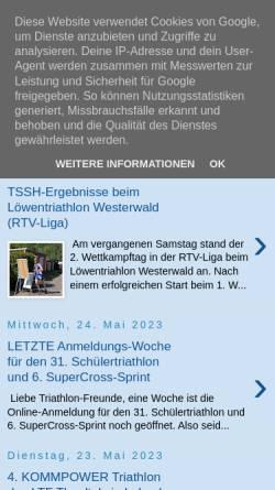 Vorschau der mobilen Webseite www.tri-sport.de, Tri Sport Saar Hochwald e.V. Merzig