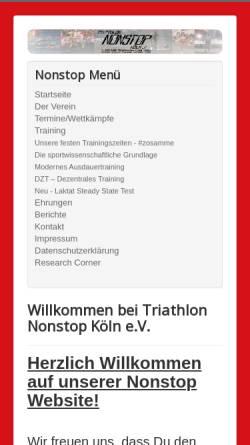 Vorschau der mobilen Webseite www.nonstop-koeln.de, Triathlon NONSTOP Köln