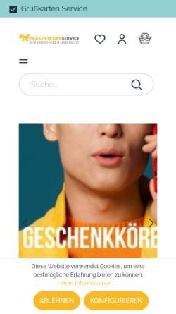 Vorschau der mobilen Webseite www.praesentkorbservice.de, Präsentkorbservice
