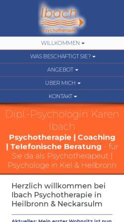 Vorschau der mobilen Webseite www.ibach-psychotherapie.de, Dipl. Psychologin Karen Ibach