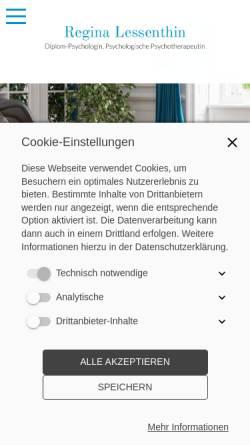 Vorschau der mobilen Webseite www.lessenthin.de, Psychologische Psychotherapeutin - Regina Lessenthin