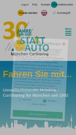 Vorschau der mobilen Webseite www.stattauto-muenchen.de, Stattauto München