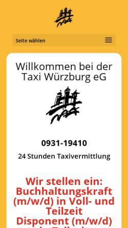 Vorschau der mobilen Webseite www.taxi-wuerzburg.de, Taxi Würzburg e.G.