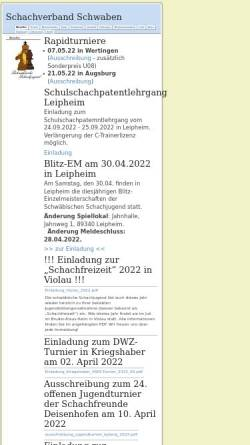 Vorschau der mobilen Webseite www.jugend.schachverbandschwaben.de, Schachjugend Schwaben