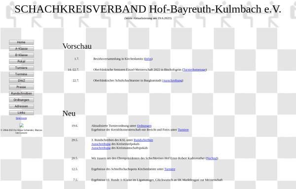 Vorschau von www.schachkreis-hof.de, Schachkreise Hof-Bayreuth