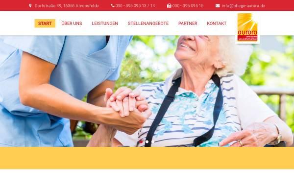 Vorschau von pflege-aurora.de, Aurora ambulante Gesundheitspflege