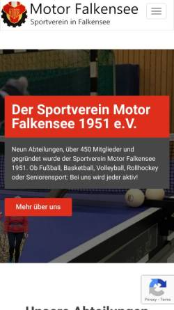 Vorschau der mobilen Webseite www.motor-falkensee.de, SV Motor Falkensee 1951 e.V.