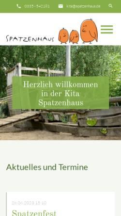 Vorschau der mobilen Webseite spatzenhaus.de, Kita Spatzenhaus