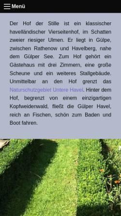 Vorschau der mobilen Webseite www.hofderstille.de, Hof der Stille