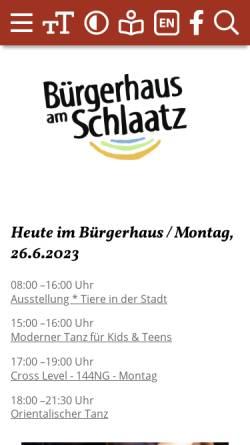 Vorschau der mobilen Webseite www.buergerhaus-schlaatz.de, Bürgerhaus am Schlaatz - Potsdam