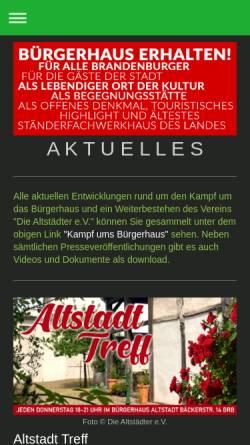 Vorschau der mobilen Webseite brandenburg-altstadt.de, Die Altstädter e.V.