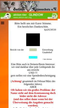 Vorschau der mobilen Webseite www.berliner-katzenschutz.de, Berliner Katzenschutz e.V. - Tierheim Glindow