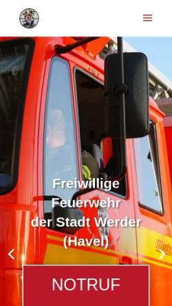 Vorschau der mobilen Webseite www.feuerwehr-werder.de, Freiwillige Feuerwehr Werder (Havel)