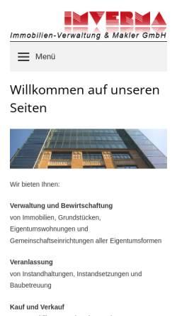 Vorschau der mobilen Webseite www.imverma.de, Immobilien - Verwaltung und Makler GmbH (IMVERMA)