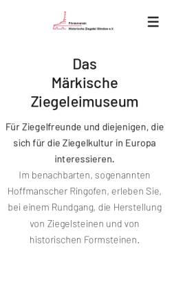 Vorschau der mobilen Webseite www.ziegeleimuseum-glindow.de, Ziegeleimuseum in Glindow
