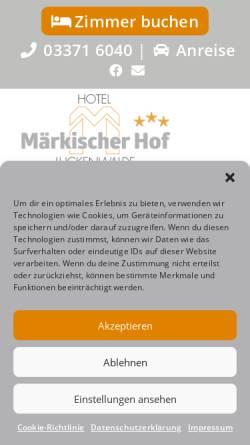Vorschau der mobilen Webseite www.maerkischerhof.de, Hotel Märkischer Hof